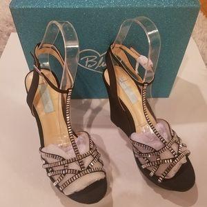 Betsey Johnson Black Wedge Heel Sandals, Size 8.5M